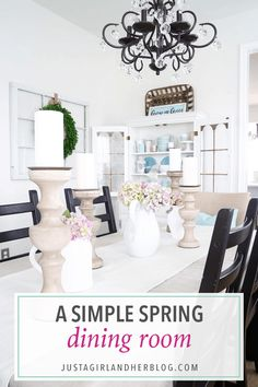 Our spring dining room is decked and styled for the season with neutrals, pastels, and lots of florals! Come pop over and take the tour! Small Space Interior Design, Vintage Interior Design, Dining Room Table Centerpieces, Dinning Table, Spring Home Decor, Room Decorations, Simple House, Home Decor Inspiration, Country Decor