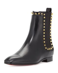 Marianne Red Sole Chelsea Boot, Black/Golden by Christian Louboutin at Neiman Marcus.