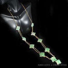 "See more #vintage #jewelry #vintagejewelry on our website (link in bio!) #VINTAGE #NATURAL APPLE GREEN #JADE JADEITE 14K GOLD #FLORAL DROP #NECKLACE 34"" #LongNecklace"