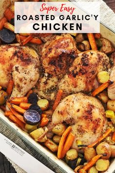 If you love garlic as much as I do, then you are going to be really happy when you make this roasted garlic-y chicken recipe. Paired with a bunch of healthy vegetables and the perfect amount of potatoes, this dish is the perfect Sunday night dinner. Quick Healthy Meals, Healthy Comfort Food, Healthy Chicken Recipes, Yummy Recipes, Good Food, Yummy Food, Healthy Vegetables, Lunch Snacks, Sunday Night