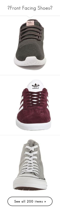 """💓Front Facing Shoes💓"" by celesteneo ❤ liked on Polyvore featuring shoes, sneakers, white trainers, adidas, adidas shoes, burgundy sneakers, metallic gold sneakers, hi tops, converse sneakers and vintage high top sneakers"