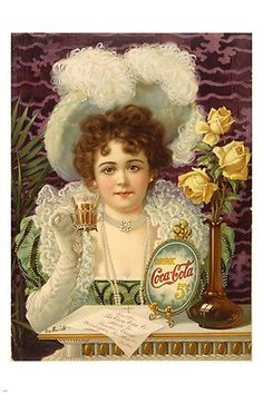 elegant vintage DRINK COCA-COLA poster OLD FASHIONED great for home decor