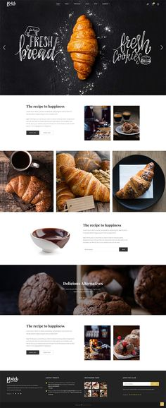 Baker WordPress Theme - Croissant Accueil - Baker - Fresh Bakery, Pastry and Cake Shop Theme - Patisserie Website Design Inspiration, Web Design Blog, Food Web Design, Website Design Layout, Layout Design, Bakery Design, Design Design, Bakery Website, Restaurant Website Design