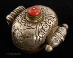 Tibetan Ghau Silver Protective Amulet Coral Colored Inset Old