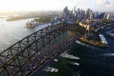 Aerial view of the Sydney Harbour Bridge, the Sydney Opera House and Sydney City Australia  Pickawall.com