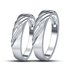 Unique Style Couple's Band With Simulated Diamond 14K White Gold Finish Silver…