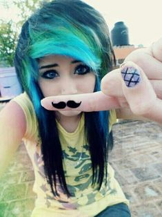 Awesome black scene hair with blue and green bangs bold eyeliner and cute Mustache on finger Black Scene Hair, Emo Scene Hair, Emo Hair, Black Hair, Green Hair, Purple Hair, Scene Girls, Dye My Hair, My Hairstyle