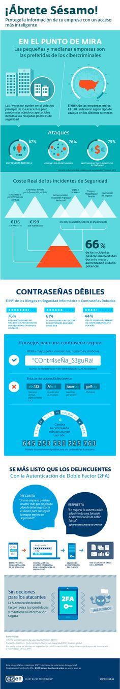 Autenticación doble: mejora la seguridad de tus datos Vía: www.eset.es #infografia #infographic #seguridad