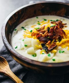 Homemade creamy loaded potato soup recipe topped with crispy bacon and cheddar cheese