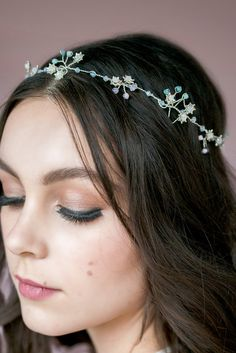 KYLA Mint Blush Crystal Crown Silver Half by BlairNadeauMillinery