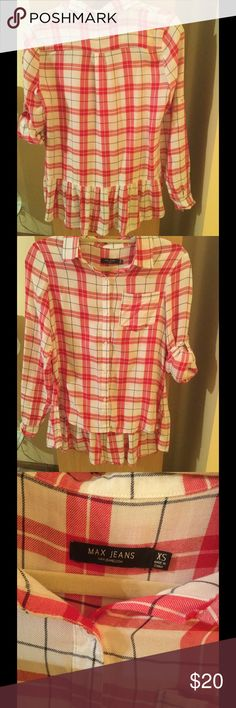 Max jeans soft long sleeve button front shirt In very good condition , no rips or spots Max Jeans very soft red with white color, ruffle on a back asymetrical long sleeve shirt . Max Jeans  Tops Button Down Shirts