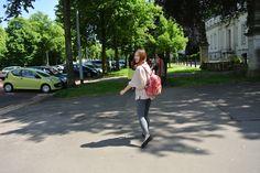 Walking in the street.