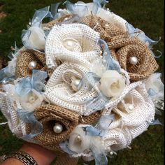 Custom Burlap Bouquet Large by RoundRockCrafts on Etsy Burlap Bouquet, Burlap Flowers, Burlap Wreath, Fabric Flowers, Handmade Flowers, Handmade Crafts, Vintage Country Weddings, Rustic Weddings, Ring Bearer Pillows