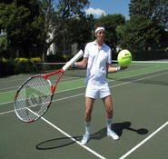 Comedy Tennis entertainer with over sized racket and tennis balls. For hire in London and the UK