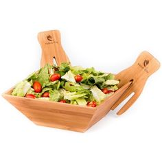 Wood Salad Bowl Set With Bamboo Servers, Best For Serving Salad,... (580 MAD) ❤ liked on Polyvore featuring home, kitchen & dining, kitchen gadgets & tools, bamboo bowl, wood bowl, wooden fruit bowl, bamboo fruit bowl and serving bowl