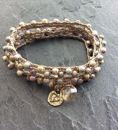 Caída rústico ganchillo pulsera collar joyas de por Mollymoojewels