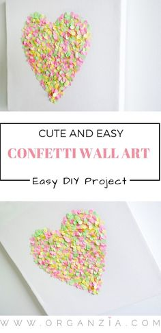 DIY confetti wall art, cute and easy project. Homemade Wall Art, Homemade Wall Decorations, Room Decorations, Confetti Wall, Diy Confetti, Cool Diy, Craft Activities For Kids, Crafts For Kids, Diy Arts And Crafts
