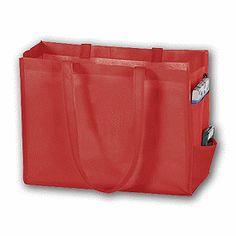 "Red Unprinted Non-Woven Tote Bags, 16 x 6 x 12""  100/ $126"