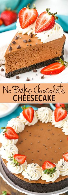No Bake Chocolate Cheesecake - thick, creamy and made with both melted chocolate and cocoa powder and set in a chocolate Oreo crust! christmas make,no bake desserts No Bake Chocolate Cheesecake, Chocolate Oreo, Delicious Chocolate, Homemade Chocolate, Melted Chocolate, Chocolate Recipes, Baking Chocolate, Oreo Cheesecake, Mango Cheesecake