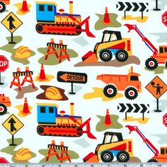 Michael Miller Tot Town Dig It White from @fabricdotcom  From the Tot Town collection for Michael Miller, you will find earth movers, dump trucks and all kinds of construction machinery. Colors include sky blue, red, white, orange and yellow.