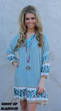 Make Your Mark Ivory Tunic Dress with Turquoise and Hot Pink Floral