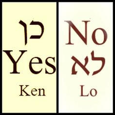 Yes & No in Hebrew.  Learn more Hebrew at: http://olivepresspublisher.com/hebrew-beginning-your-journey.html