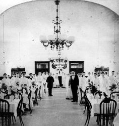 Staff in dining room of Raymond Hill Hotel Pasadena 1890