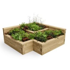 Urban Corner Raised Bed / Length x Width x Height - 1500 x 1500 x 550 mm Urban Corner Raised Bed / L Cheap Raised Garden Beds, Raised Garden Bed Plans, Raised Flower Beds, Building Raised Garden Beds, Raised Beds, Large Backyard Landscaping, Landscaping With Rocks, Backyard Patio, Landscaping Ideas