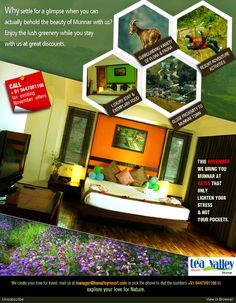 Hurry, and book your cottages to avail this November offer at Tea Valley Resort,Munnar.http://teavalleyresort.com/