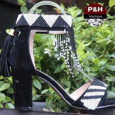 Yellow beaded heel - P&H Menlyn Mall African Style, African Fashion, Types Of Shoes, Block Heels, Mall, Traditional, Boutique, Black And White, Beads