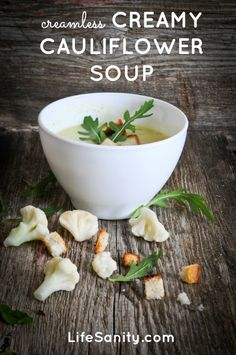Creamless creamy cauliflower soup