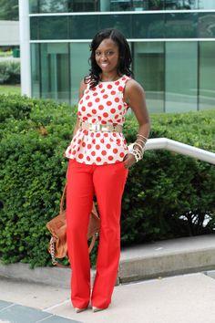 Red: Polka Dot Peplum + Flared Pants | www.prissysavvy.com | Bloglovin'