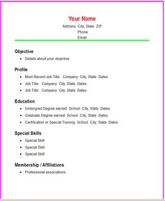 Basic Resume Templates | Basic Chronological Resume Template ← Open Resume  Templates  Simple Resume Outline