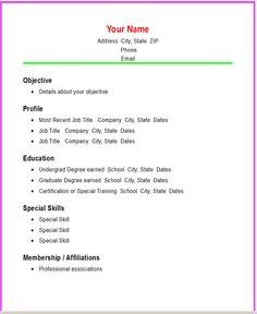 Blank Resume Template Microsoft Word - http://www.resumecareer.info ...