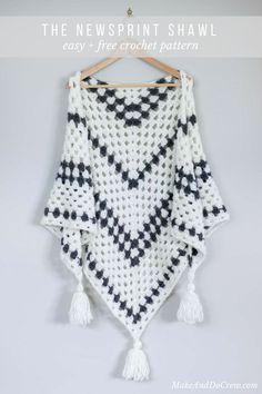 Wow! This free crochet granny stitch pattern looks totally doable! I love the modern tassels!