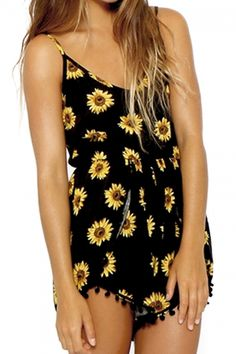 abaday | abaday Sunflower Print Sleeveless Playsuit, The Latest Street Fashion