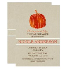 Shiny Orange little Pumpkin Autumn Bridal Shower Card - Halloween happyhalloween festival party holiday