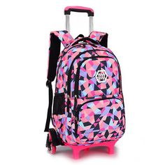 Hot Sales Removable Children School Bags with 2/3 Wheels for Girls Trolley Backpack Kids Wheeled Bag Bookbag travel luggage #Affiliate