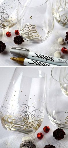 Decorate clear glasses with gold for new year's eve!