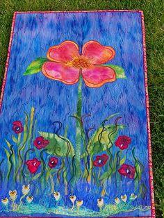 MarveLes PEACHY POSY Wand Kunst Blumen Quilt Blue von marveles