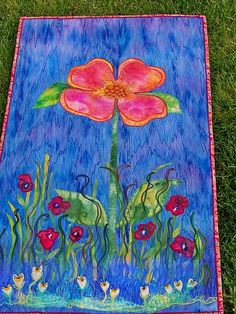 PEACHY POSY Wall Art Flower Quilt by MarveLes