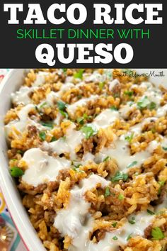 Taco Rice Skillet Dinner with Queso! A one-pan recipe made with ground beef, tac. Taco Rice Skillet Dinner with Queso! A one-pan recipe made with ground beef, taco seasoning and Mexican style rice drenched in an easy queso cheese sauce. Healthy Recipes, Top Recipes, Dinner Recipes, Cooking Recipes, Cooking Ideas, Easy Recipes, Easy Mexican Food Recipes, Free Recipes, Recipes Using Rice
