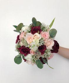 Set of 5 Bridesmaids Bouquets Burgundy Bouquet Boho Bridesmaid Bouquet White, Burgundy Bouquet, Pink Rose Bouquet, Purple Bouquets, Purple Wedding Flowers, Burgundy Wedding, Flower Bouquet Wedding, Flower Bouquets, Rose Wedding