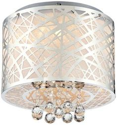 Possini Euro Design Metal Drum and Crystal Ceiling Light