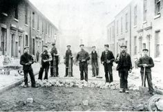 Workers in the process of laying granite sets by hand. Preston Lancashire, Blackpool, Old Pictures, North West, Granite, Beautiful Places, England, Street View, Urban