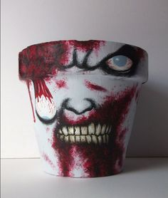 Creepy Halloween Decor Ideas - Hand Painted Zombie Pots - Click Pic for 20+ ideas
