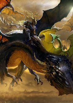 Dragon and knight Digital Concept Art by Anton Kokarev