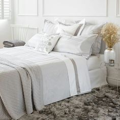 Zara Home Grey Satin Jacquard Bed Linen