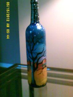 my painted wine bottles