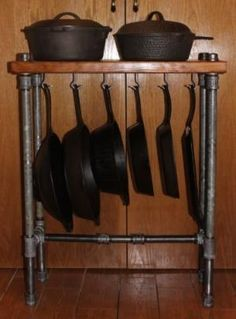 Heavy duty cast iron storage butcher block industrial style by claire Diy Kitchen, Kitchen Storage, Kitchen Decor, Kitchen Pans, Desk Storage, Kitchen Ideas, Cast Iron Skillet, Cast Iron Cooking, Reclaimed Wood Kitchen